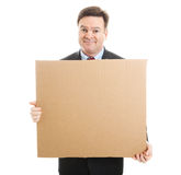Embarrassed Businessman with Cardboard Sign Stock Images