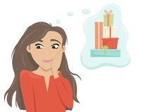 Embarrassed girl dreams about gifts. Flat cartoon style vector illustration vector illustration