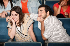 Embarrassed Girl in Theater Royalty Free Stock Photos