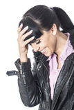 Embarrassed Shy Young Woman with Head in her Hands Smiling Stock Photos