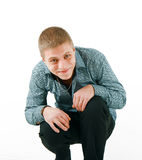 Embarrassed smiling man Royalty Free Stock Images