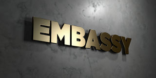 Embassy - Gold sign mounted on glossy marble wall  - 3D rendered royalty free stock illustration Stock Photo