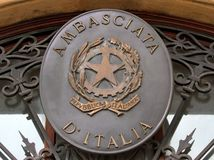 Embassy of Italy on the entry door of the offices of the Ambassa Royalty Free Stock Photo