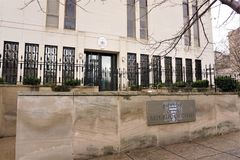 Embassy Republic of Chad. The embassy personnel offices for the country of Chad in Washington DC. Large beige building with cast iron black fence surrounding the royalty free stock image