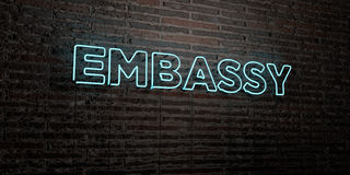 EMBASSY -Realistic Neon Sign on Brick Wall background - 3D rendered royalty free stock image Royalty Free Stock Image
