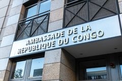 Embassy of the Republic of the Congo in Berlin, Germany. Berlin, Germany - April 19, 2019: Building exterior of the Embassy of the Republic of the Congo stock photo