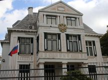 Embassy of Russia in the city of The Hague where all diplomats are working in the Netherlands. Embassy of Russia in the city of The Hague where all diplomats stock image