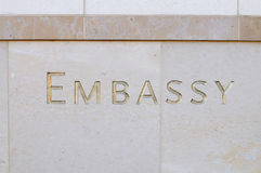 Embassy Sign Royalty Free Stock Photography