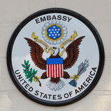 Embassy of united states of america board. BANGKOK,THAILAND - JANUARY 8, 2015: The USA embassy sign. The embassy is located on Wireless Road in the heart of Royalty Free Stock Image