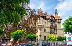 Embassy of the United States of America at Slovenian capital, Ljubljana. LJUBLJANA, SLOVENIA - SEPTEMBER 04 , 2018: Embassy of the United States of America at stock images
