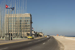 Embassy of the United States Havana Cuba. Embassy of the United States situated at the broad esplanade and roadway of Malecón, officially Avenida de Maceo Royalty Free Stock Photo