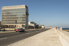Embassy of the United States Havana Cuba. Embassy of the United States situated at the broad esplanade and roadway of Malecón, officially Avenida de Maceo Stock Photography