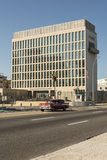 Embassy of the United States Havana Cuba. Embassy of the United States situated at the broad esplanade and roadway of Malecón, officially Avenida de Maceo Stock Photo