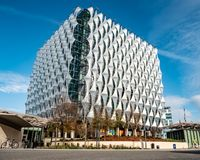 Embassy of the United States, London. LONDON, UK - 31 OCTOBER 2018: A view of the exterior of the new US Embassy in the Nine Elms Wandsworth area of South West stock photos