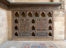 Embedded wooden ornate cupboard, Beit El Harrawi, Old cairo, Egypt Stock Photos