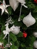 Embellished Christmas decoration  glitter silver ornaments Stock Image