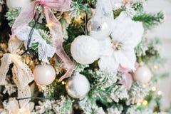 Embellished Christmas tree decoration white flower. Close-up Royalty Free Stock Photography
