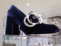 Embellished velvet loafer pumps women shoes Stock Image