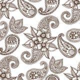 Embellissement indien décoratif ornemental de mhendi d'arabesque de Paisley de modèle de conception de griffonnage de fleur de me Images libres de droits
