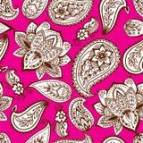 Embellissement sans couture d'arabesque de Paisley de modèle de conception indienne décorative ornementale de griffonnage de fleu illustration libre de droits