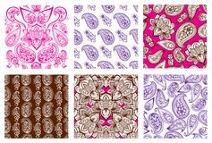 Embellissement sans couture d'arabesque de Paisley de modèle de conception indienne décorative ornementale de griffonnage de fleu illustration stock