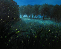 Ember of Life. An oil painting on canvas of a Night Scene with fireflies and forest meadow shining in bright blue by the moon light, creating a fairy tale Royalty Free Stock Photography