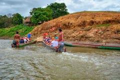 Embera村庄,Chagres,巴拿马 免版税库存图片