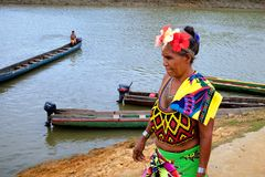 Embera村庄,Chagres,巴拿马 免版税图库摄影