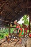 Embera村庄,Chagres,巴拿马 图库摄影