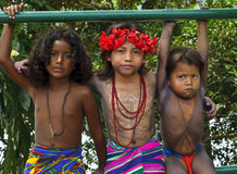 Embera Children, Panama. Children of the indigenous people called the Embera of the Panama jungle, dressed in their brightly colored native clothing (the skirt