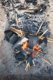 Embers в пожаре Стоковое Изображение