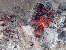 Embers. Wood fire with glowing embers and white ashes Royalty Free Stock Image