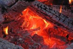 Embers. Hot embers in a bonfire Stock Photo