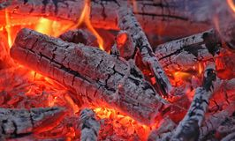 Embers #2. Hot embers in a bonfire Royalty Free Stock Image
