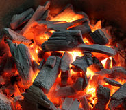 Embers. Background of Flames and Glowing Embers Stock Photos