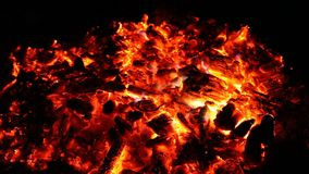 Embers and ashes of big fire stock footage
