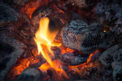 Embers in bonfire close up Stock Images