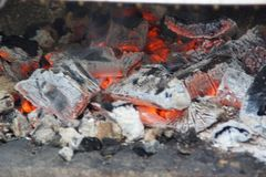 Embers - Front view and horizontal. Embers are burning coals stemming from the combustion of wood, from coal, or from another material established constituted by Royalty Free Stock Photos