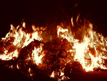 Embers burning in fire at night closeup Royalty Free Stock Photography
