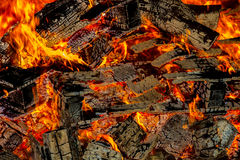 Embers from burning wood pallets Royalty Free Stock Photos