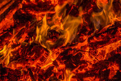 Embers from burning wood pallets Stock Image