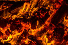 Embers from burning wood pallets Royalty Free Stock Photography