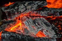 Embers. At close, in house fireplace Royalty Free Stock Photo