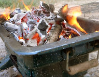Embers in fire stock photos