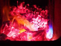 Embers and flames of wood stock photo