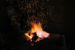 Embers and Flamme of a smith's forge Royalty Free Stock Images