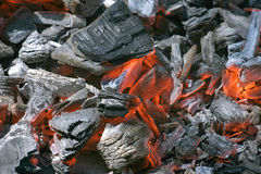 Embers Forge Fire. Colorful details of burning coal and wood Royalty Free Stock Photography