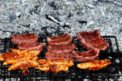 Embers grilled meat Stock Photography