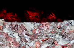 Embers perspective. Glowing embers and white ashes view from perspective Royalty Free Stock Photography