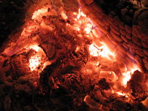 Embers in stove. Red and hot embers in stove close up Stock Photos